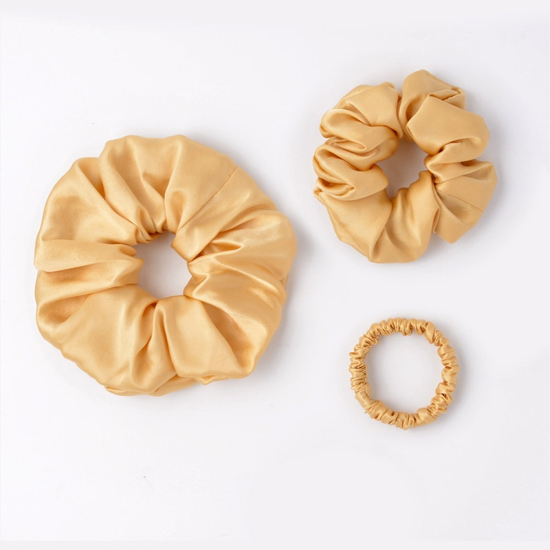 3 PCS Flower Silk Hair Scrunchies Small Medium Large Sizes