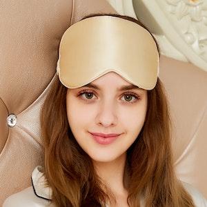 22 Momme Large Silk Sleep Eye Mask with Light Blocking Layers
