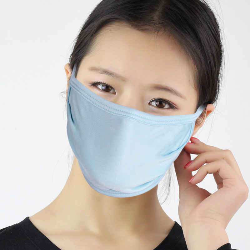 Image of 3PCS RachelSilk 100% Mulberry Silk Face Mask Reusable Breathable Organic Silk Knitted Two Layer Unisex Blue Anti-UV Dustproof