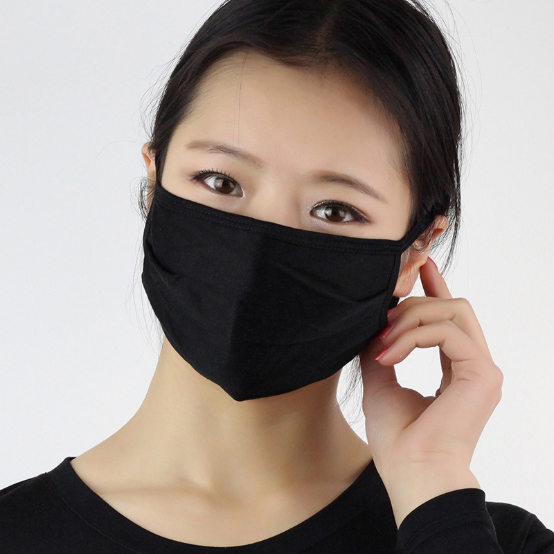 Image of 3PCS RachelSilk 100% Mulberry Silk Face Mask Reusable Breathable Organic Silk Knitted Two Layer Unisex Black Anti-UV Dustproof
