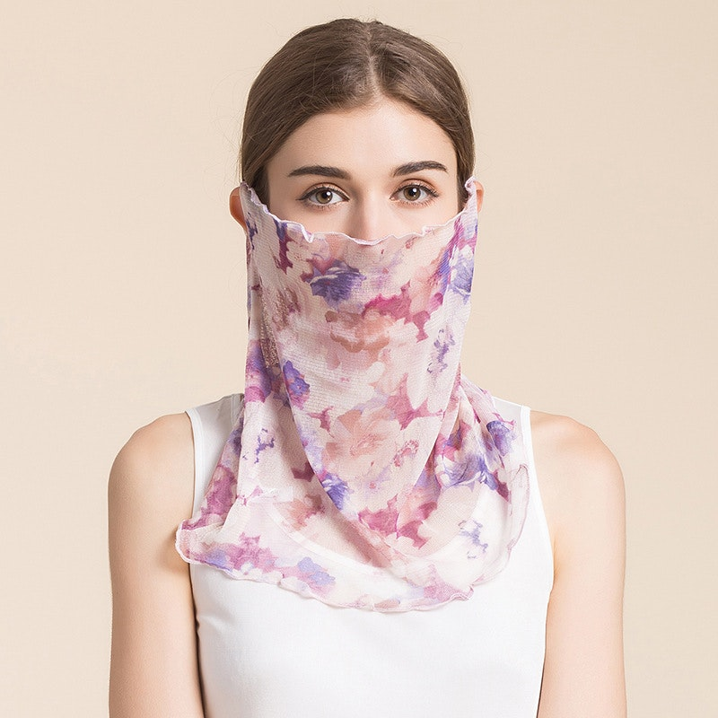 Multifunctional Silk Bandana Face Cover Neck Gaiter For Dust Sun Protection