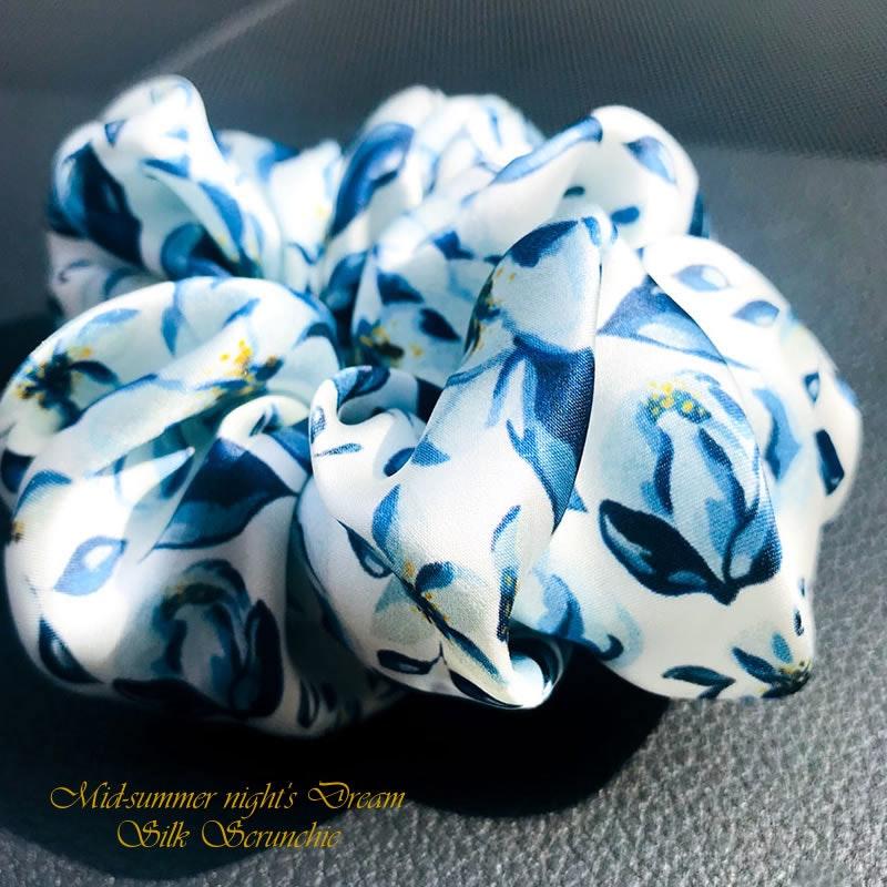 RachelSilk Art Fashion Silk Scrunchie MID SUMMER'S DREAM