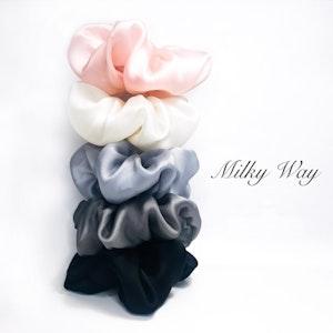 Organza Flower Silk Scrunchie MILKY WAY