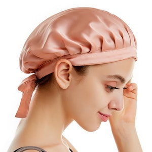 19 Momme Silk Hair Wraping Bonnet With Ribbon