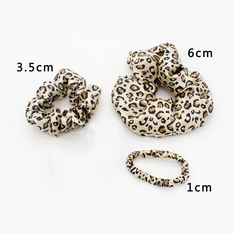 3PCS Silk Hair Scrunchies Different Size Stylish Leopard Print Floral Print