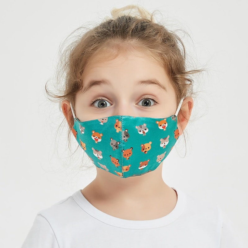 Kids Washable Silk Face Mask With Cute Print Handmade Embroidery For Toddler and Teen
