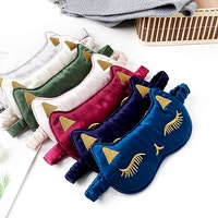 Embroidered Cat Shaped Silk Sleep Eye Mask