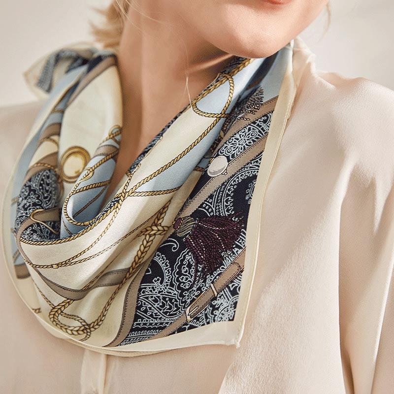 Various Fashionable Printed Square Silk Hair Scarf Head Scarf