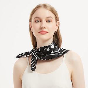 Cool Skull Printed Silk Kerchief Bandana Scarf
