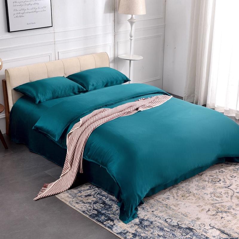 4PCS 19 Momme Seamless Silk Bedding Sheets Duvet Cover Pillowcases Set