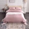 4PCS 19 Momme Seamless Silk Bedding Sheets Duvet Cover Pillowcases Set Color