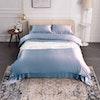 4PCS 22 Momme Seamless Silk Bedding Sheets Duvet Cover Pillowcases Set Color
