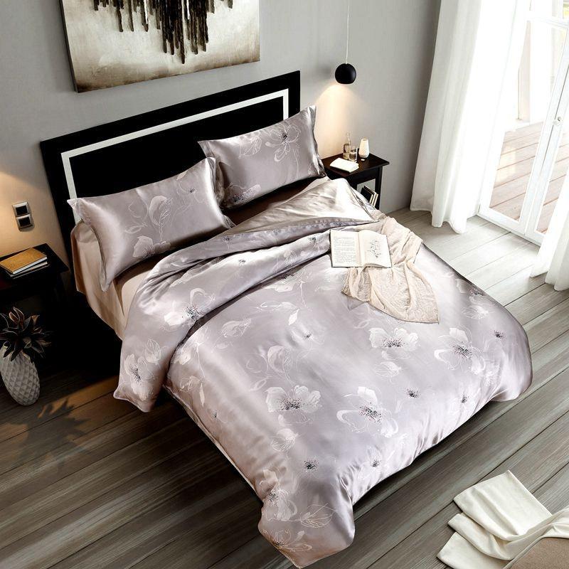 4PCS Seamless Floral Printed Silk Bedding Set