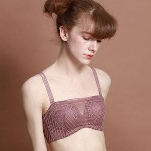 Cute Silk Balconette Bra With Lace Cover