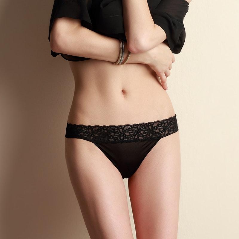Sexy Mid Waist Lacy Silk Thong Panties