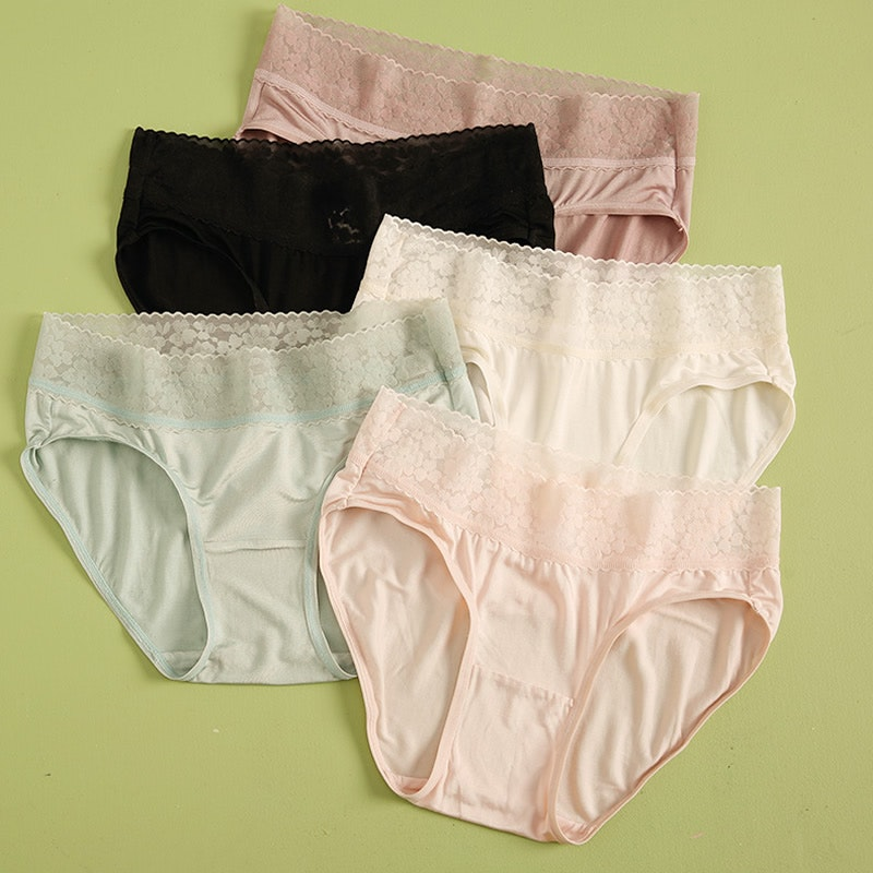 3 Pack Women Silk Knit Panties Lacy Middle Waist