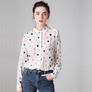 Colorful Heart Print Silk Shirt
