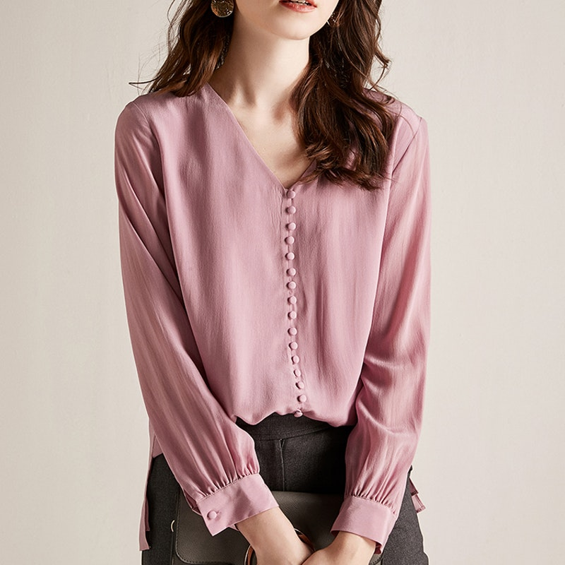Double Layer Collarless Silk Blouse