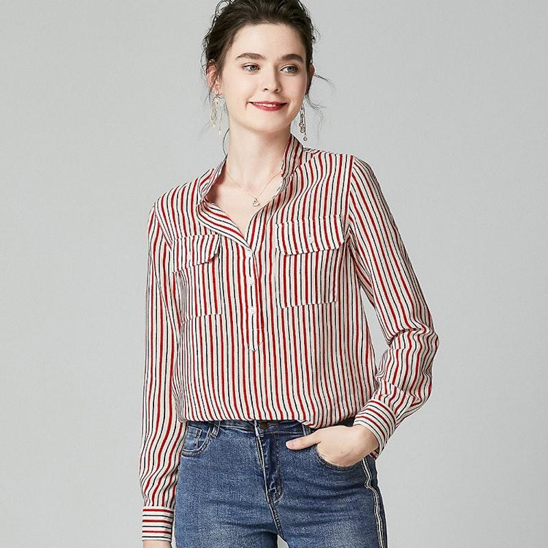 16 Momme Long Sleeve Striped Silk Shirt