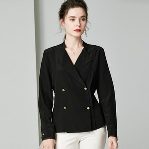 24 Momme Classic Double Breasted Silk Shirt