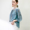 Dolman Sleeve Silk T Shirt With Embroidery Color