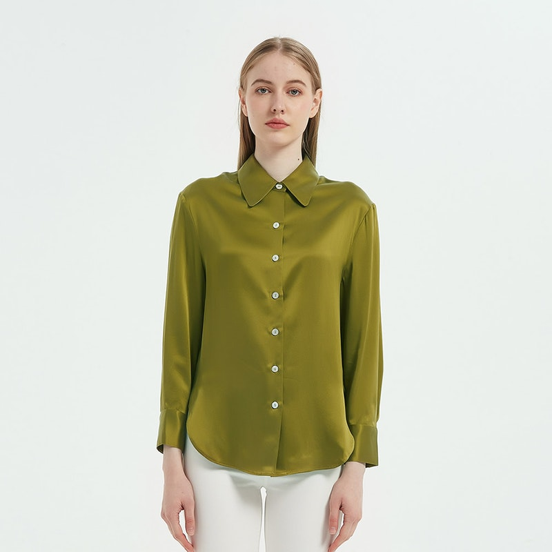 Glossy Long Sleeves Collared Silk Blouse