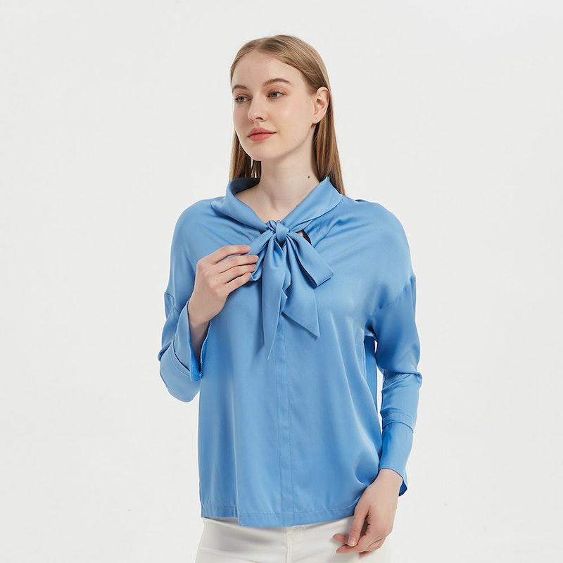 Elegant Women Bow-Tie Neck Silk Blouse