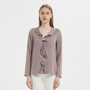 Women Stylish Ruffled Pull Over Silk Shirt