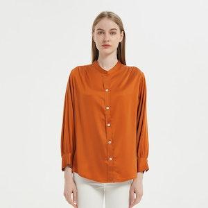 Women Retro Stand Collar Silk Blouse