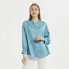 Women Retro Stand Collar Silk Blouse Color