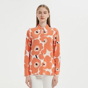 Romantic Sun Flower Printed Silk Shirt