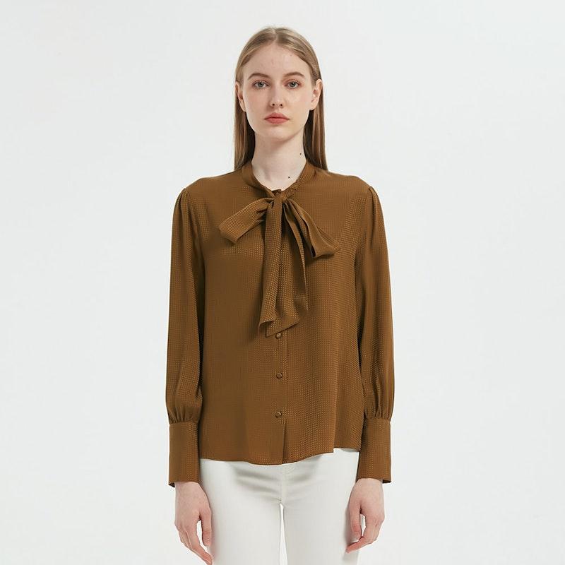 Women Jacquard Silk Bow Tie Blouse