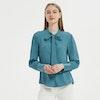 Women Jacquard Silk Bow Tie Blouse Color