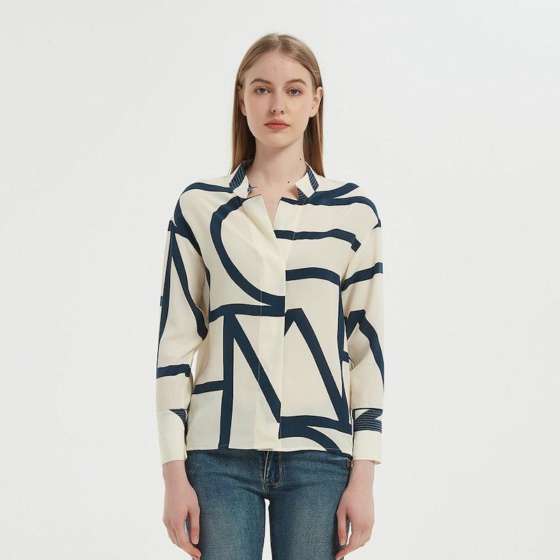 Women Casual Geometric Print Silk Shirt