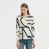 Women Casual Geometric Print Silk Shirt Color
