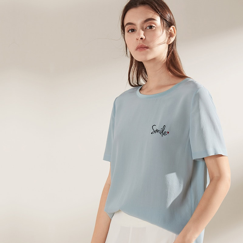 Round Neck Silk T-Shirt With Embroided Design