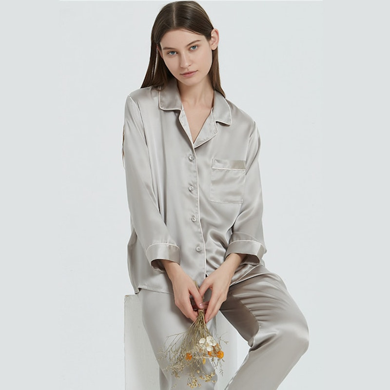 16 Momme Women Silk Pajamas Set with Piping