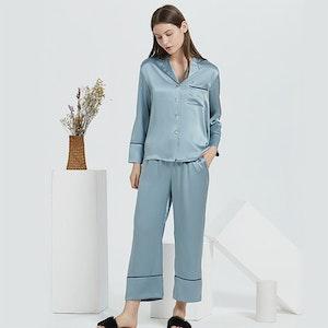 19 Momme Women Casual Long Silk Pajamas Set