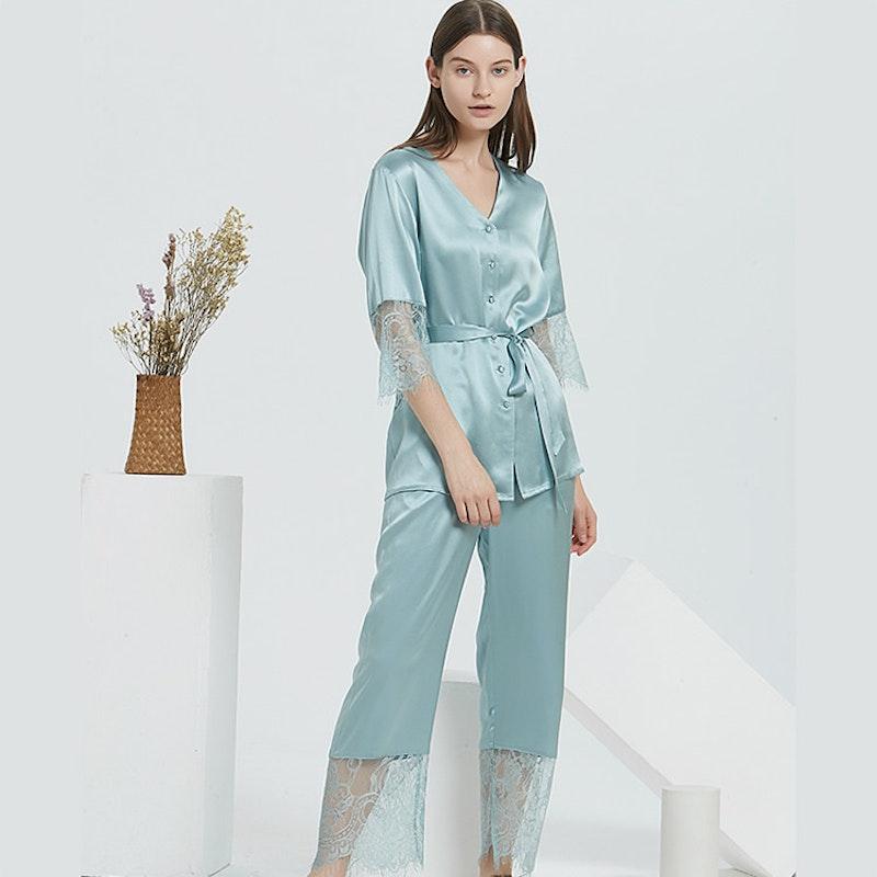 22 Momme Short Laced Silk Pajamas Set