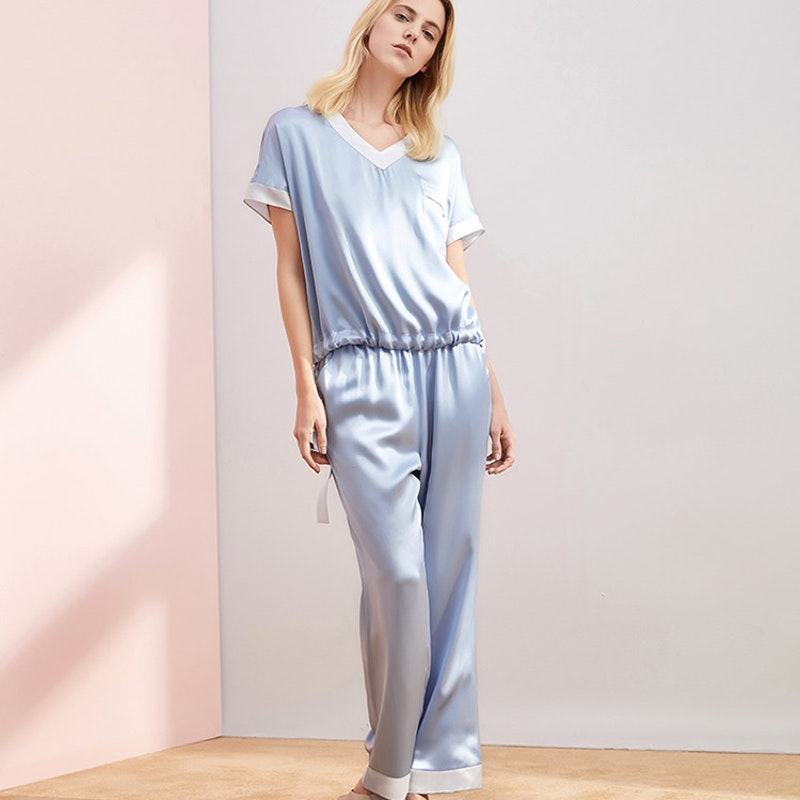 19 Momme Short Sleeve Silk Pajamas With Drawstring