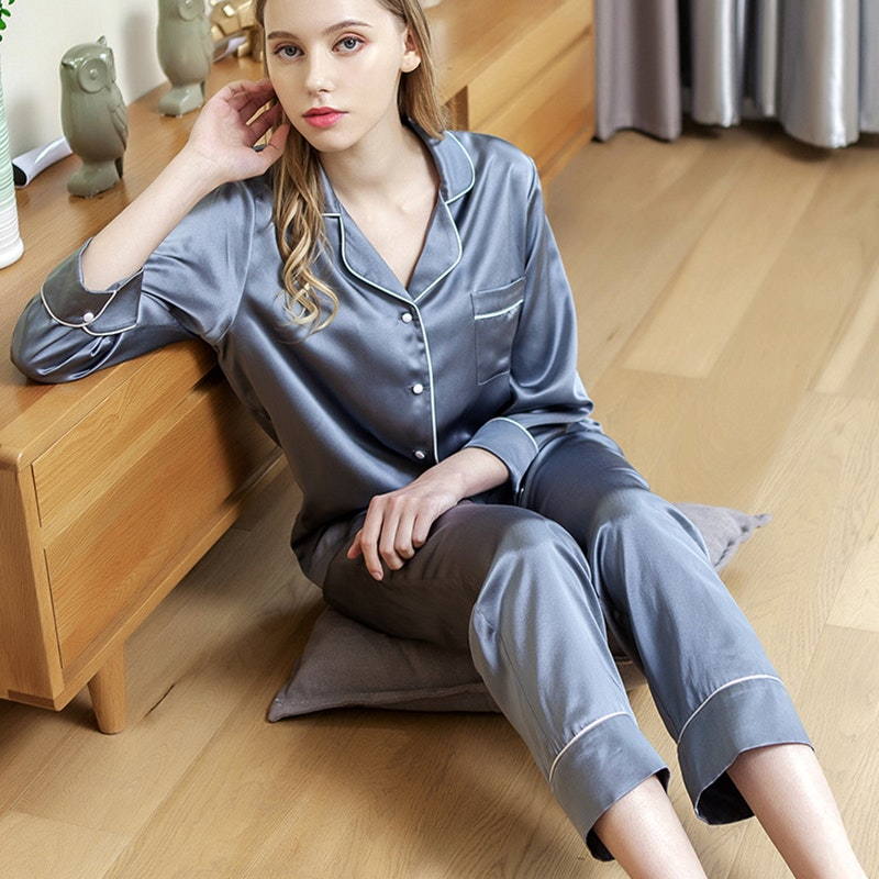 19 momme Women Silk Pajama Set With Piping