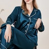 Women Full Length Silk Pajama Set With White Piping Color