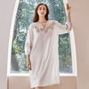 Women Vintage Long Sleeves Silk Jacquard Nightgown Color