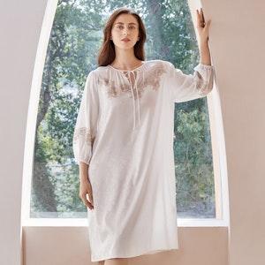 Women Vintage Long Sleeves Silk Jacquard Nightgown