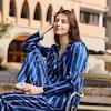 Women Luxury Navy Blue Striped Silk Pajamas Color