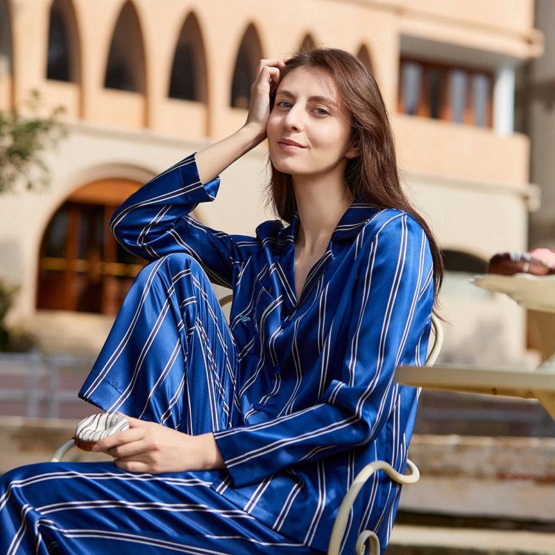 Women Luxury Navy Blue Striped Silk Pajamas