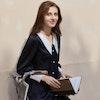 Women Retro Black Silk Pajamas With Pointy Collar Color
