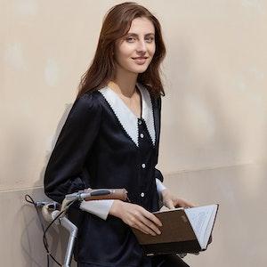 Women Retro Black Silk Pajamas With Pointy Collar