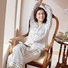 Women Uneven Spaced Polka Dot Silk Pajamas Color