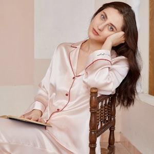 Women Sweet Pink Silk Pajamas With Red Piping